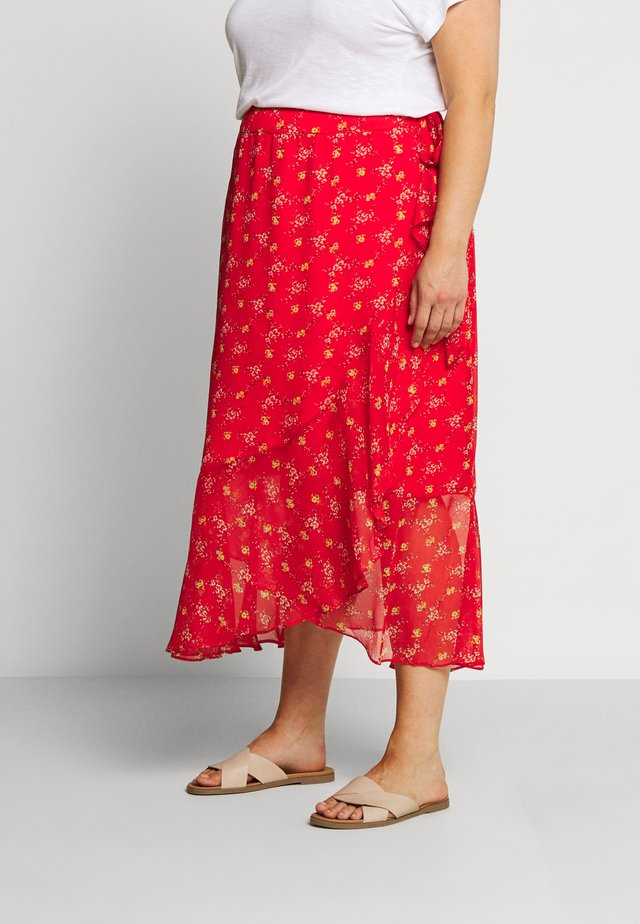 WRAP RUFFLED BOUQUET REFRESH SKIRT - Spódnica z zakładką - red