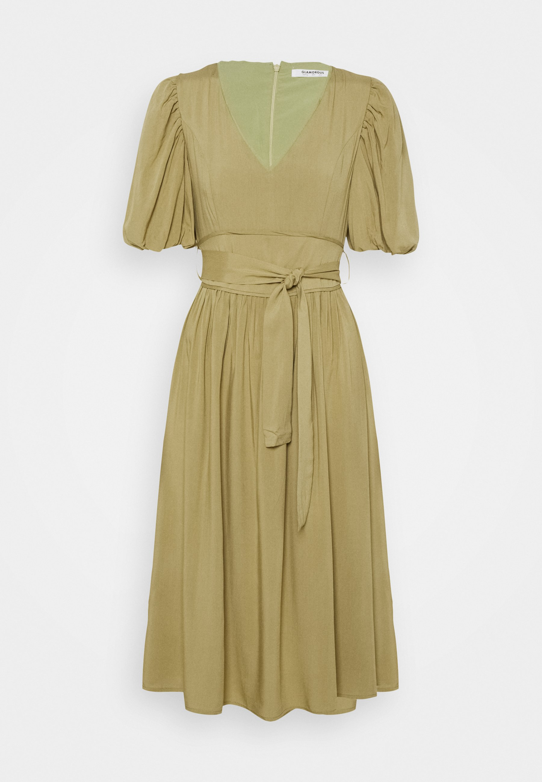 Women MIDI DRESSES WITH PUFF SLEEVES LOW V-NECK AND TIE BELT - Day dress