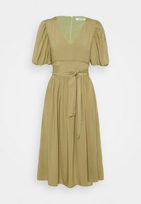 Glamorous - MIDI DRESSES WITH PUFF SLEEVES LOW V-NECK AND TIE BELT - Day dress - sage - 0