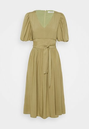 MIDI DRESSES WITH PUFF SLEEVES LOW V-NECK AND TIE BELT - Day dress - sage