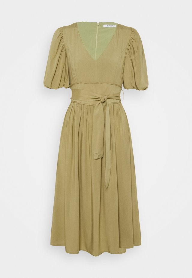 MIDI DRESSES WITH PUFF SLEEVES LOW V-NECK AND TIE BELT - Korte jurk - sage