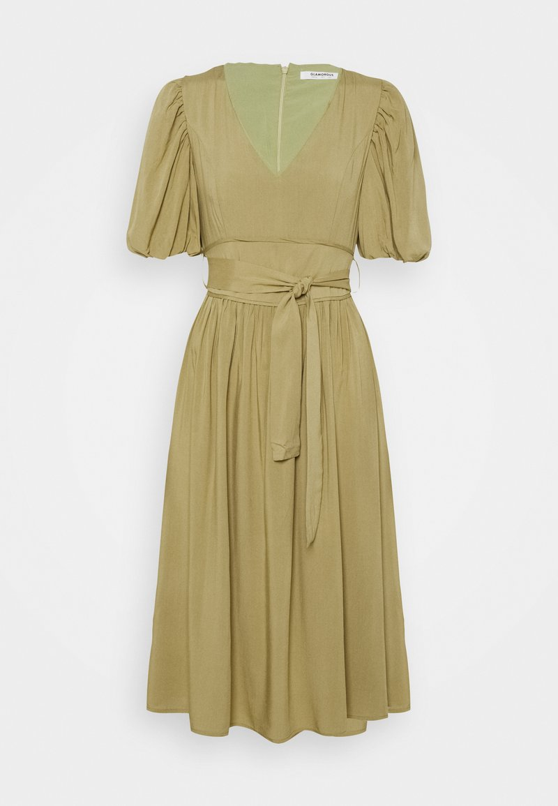 Glamorous - MIDI DRESSES WITH PUFF SLEEVES LOW V-NECK AND TIE BELT - Day dress - sage