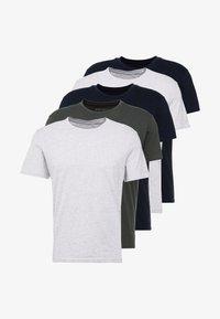 Pier One - 5 PACK - T-shirts basic - dark blue/grey/khaki - 6