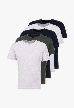 5 PACK - T-shirt basic - dark blue/grey/khaki