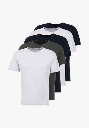 5 PACK - T-shirt - bas - dark blue/grey/khaki
