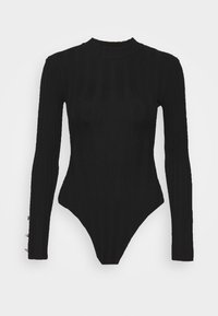 Missguided Petite - BUTTON CUFF CREW NECK BODY - Jumper - black - 3