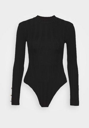 BUTTON CUFF CREW NECK BODY - Svetr - black