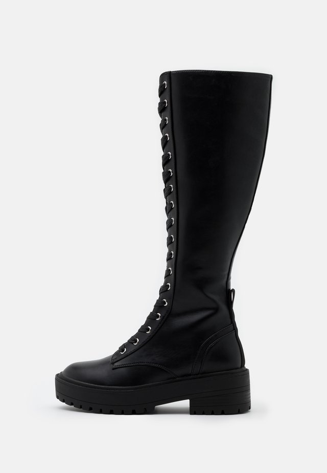 ONL LACE UP TALL BOOT - Plateaustøvler - black