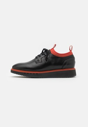LACE UP DERBY - Casual lace-ups - black/princeton orange
