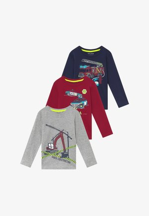KIDS FIRE TRUCK POLICE CAR DIGGER 3 PACK  - T-shirt à manches longues - bordeaux/blau/nebel