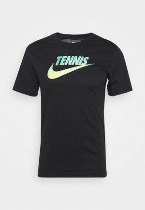 TENNIS GRAPHIC - Camiseta estampada - black/volt/neo turq