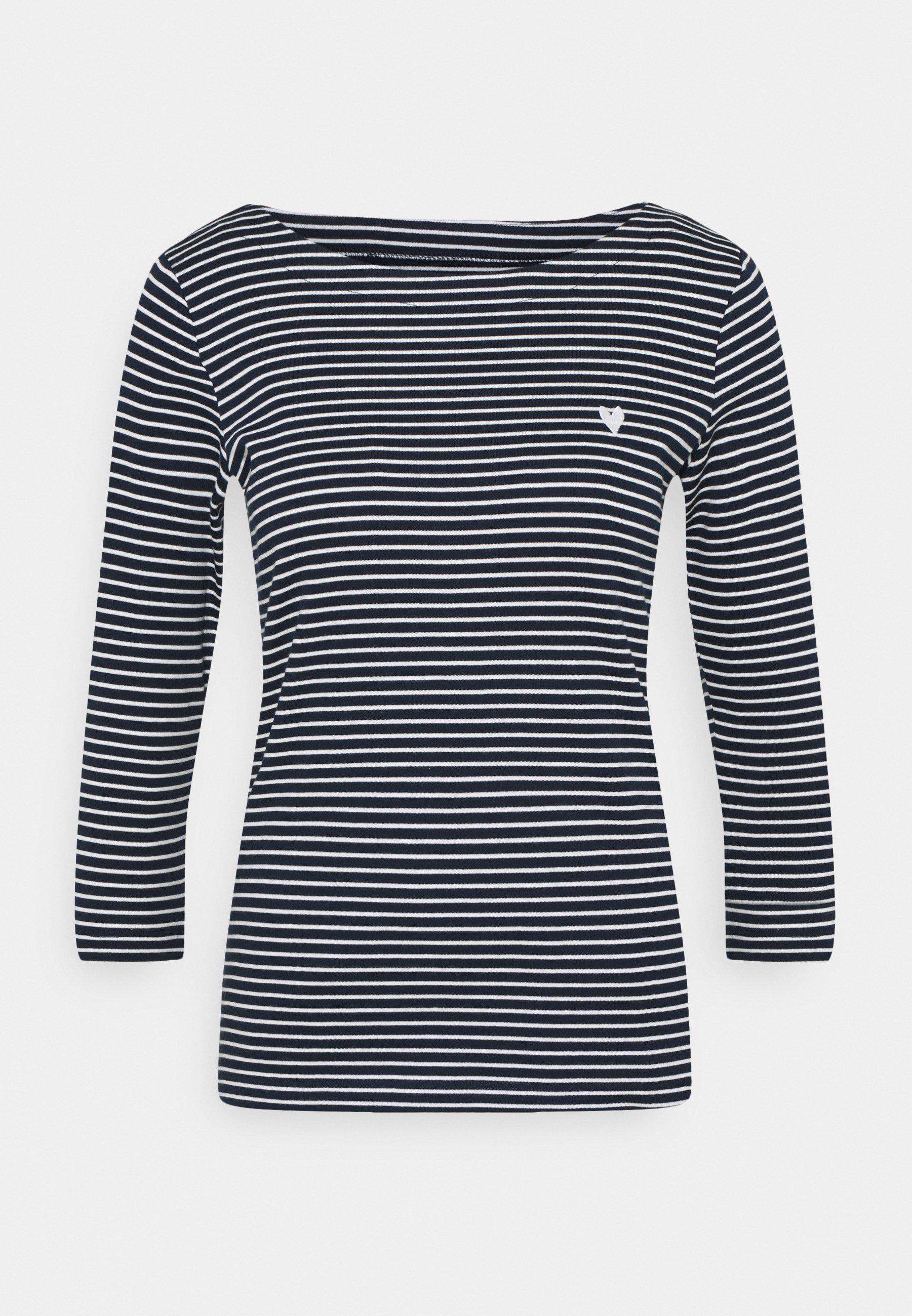 Damen STRIPE BOAT NECK - Langarmshirt - navy/white