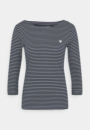 STRIPE BOAT NECK - Long sleeved top - navy/white