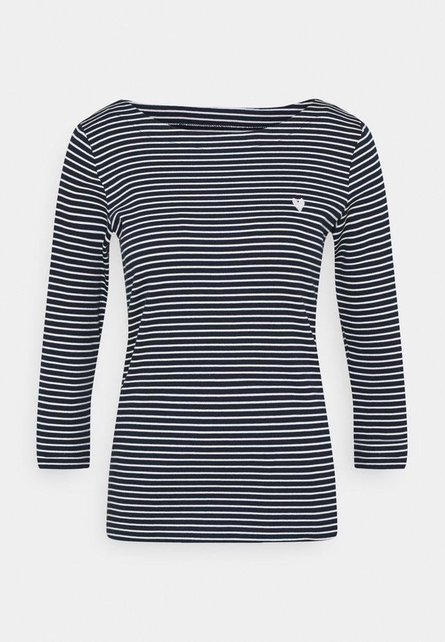 STRIPE BOAT NECK - Langarmshirt - navy/white
