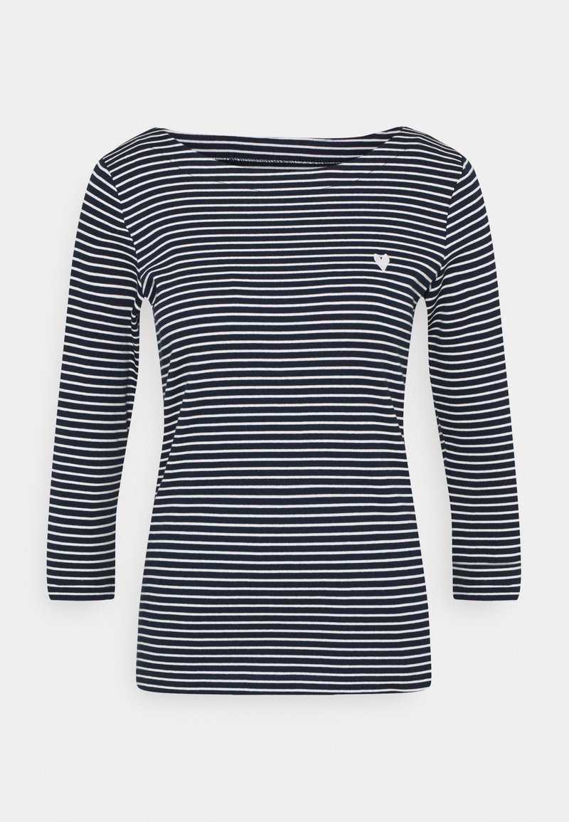 TOM TAILOR - STRIPE BOAT NECK - Long sleeved top - navy/white