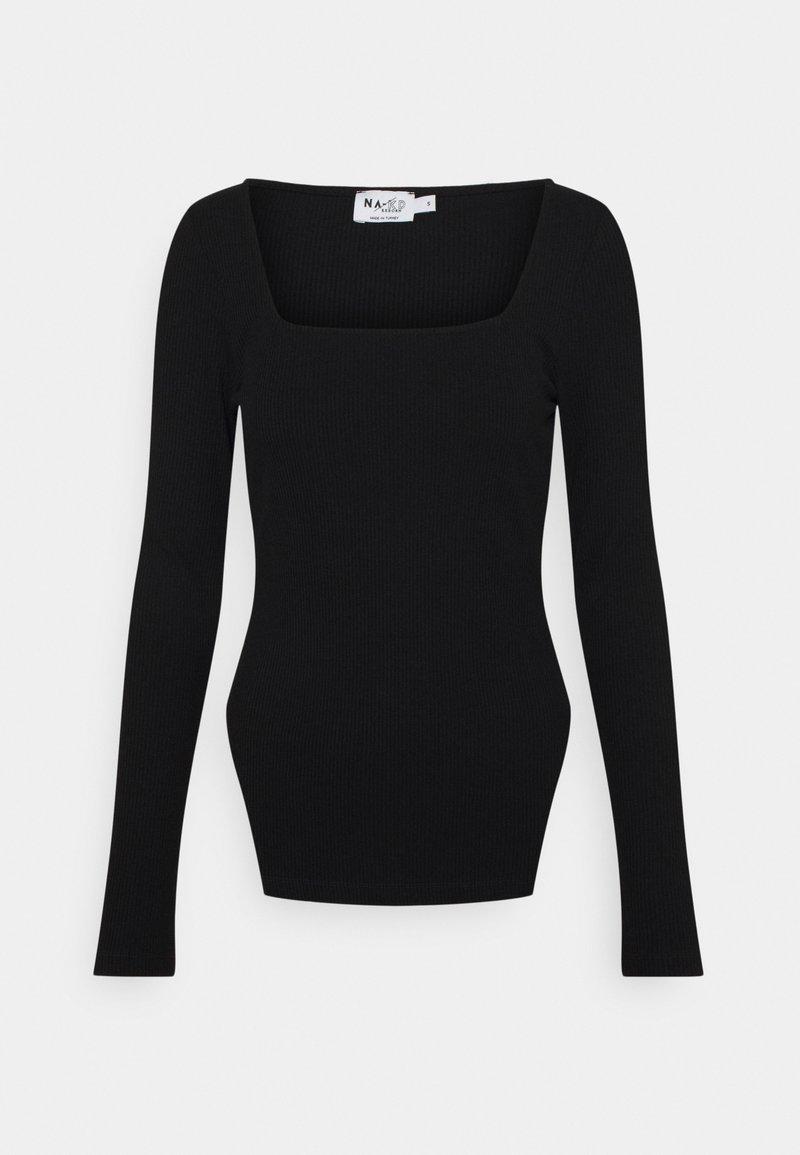 NA-KD - SQUARE NECK SLIT TOP - Long sleeved top - black
