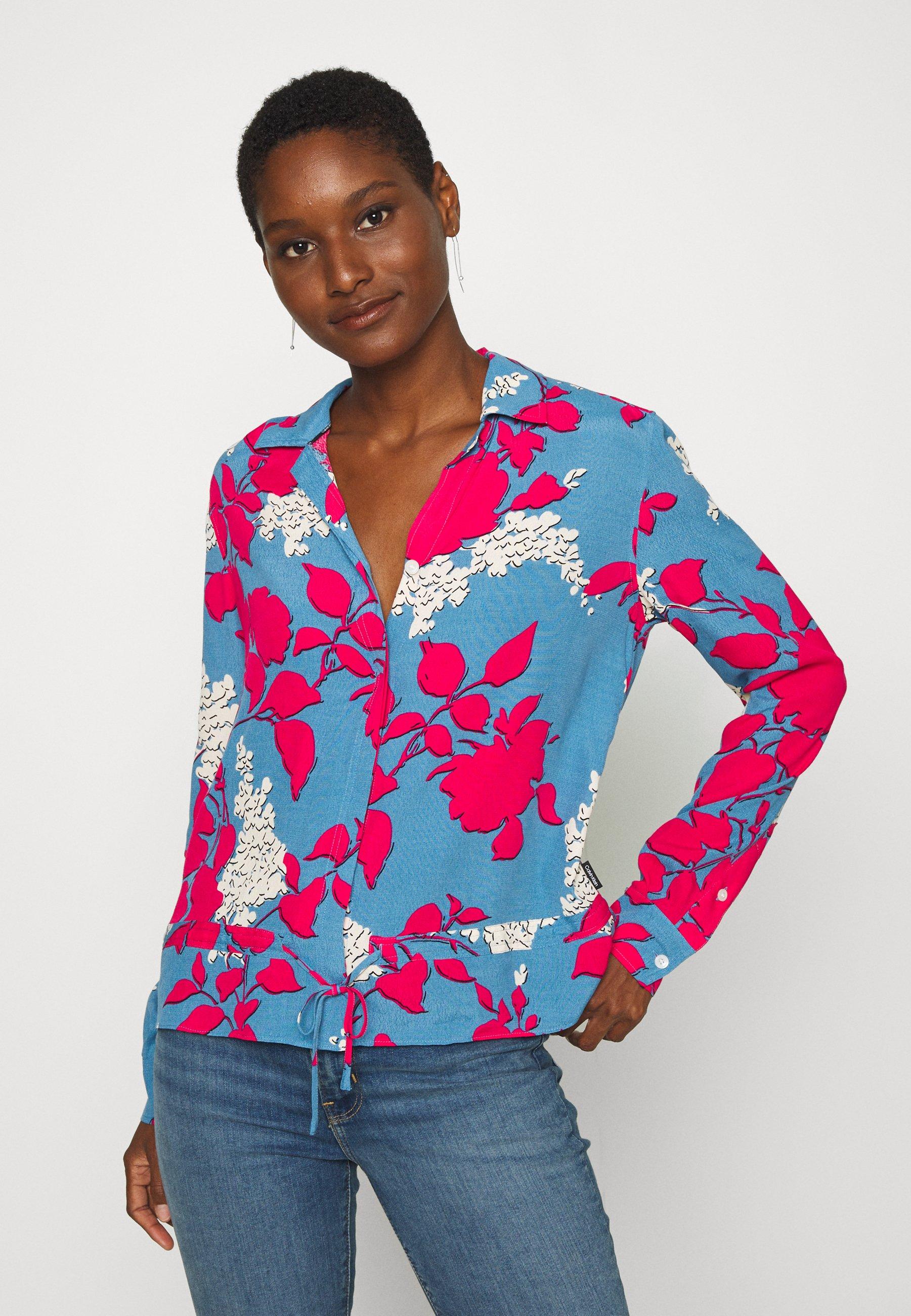 Official Women's Clothing Calvin Klein Button-down blouse light blue/pink QE0KCYFQB