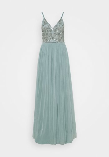 STRAPPY EMBELLISHED MAXI DRESS