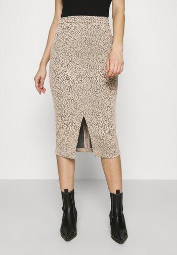 PENCIL - Pencil skirt - neutral leopard