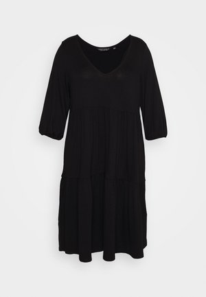 V NECK SMOCK - Robe en jersey - black