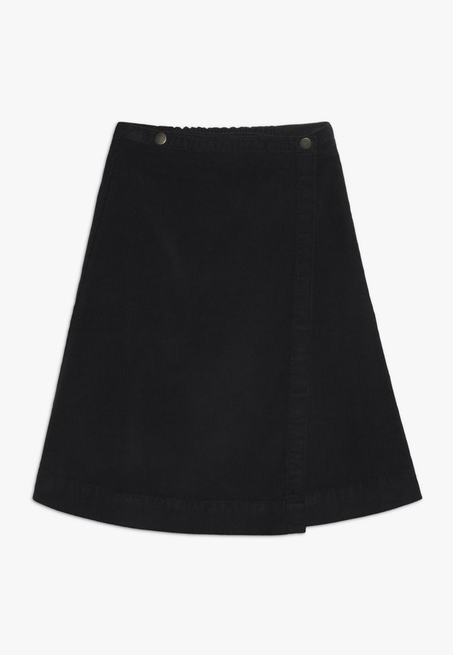 SAGA BUTTON SKIRT - Falda acampanada - black