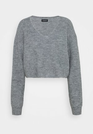 CROPPED V-NECK - Strikkegenser - mottled grey