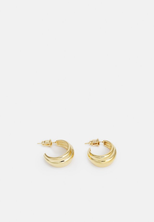 SMALL DOMED RIDGED EARRINGS - Oorbellen - pale gold-coloured