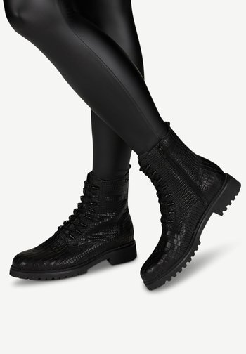 Lace-up ankle boots - black croco