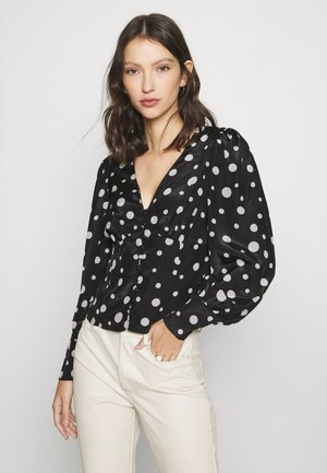 V NECK WITH BUTTON DETAIL - Long sleeved top - black/cream