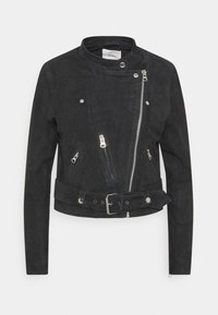 OBJBONITA JACKET - Leather jacket - black