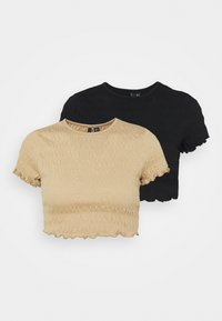 Vero Moda Petite - VMSCARLETT CROP 2 PACK - Basic T-shirt - black - 0