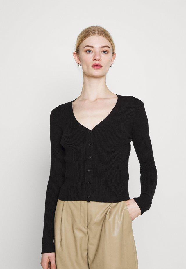 BUTTON CARDI - Vest - black