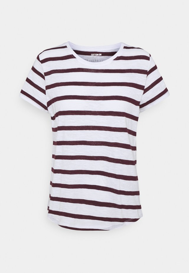 THE CREW - T-shirt basic - white/winetasting