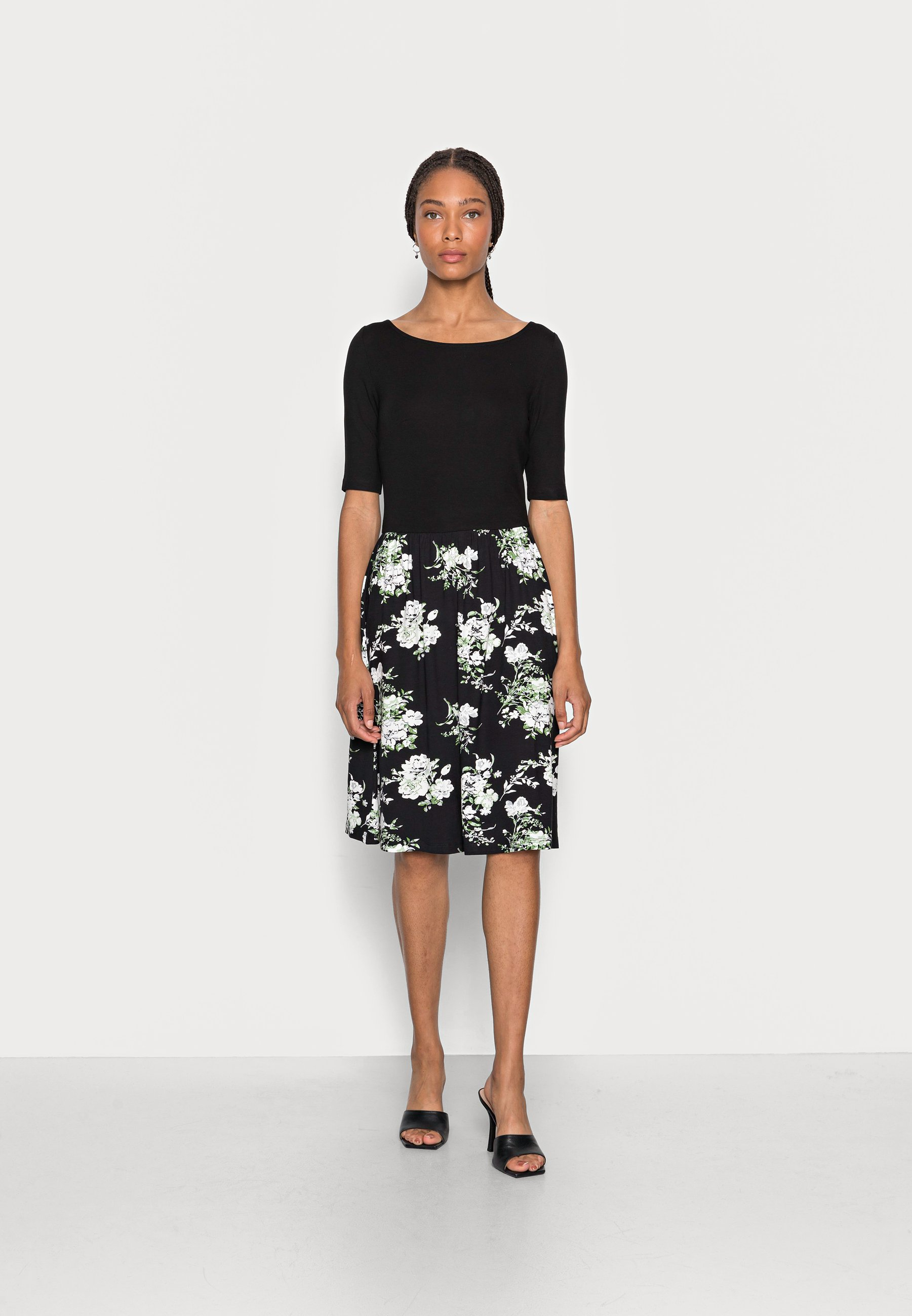Women BOAT NECK PRINT DRESS WITH SOLID SKIRT - Jersey dress