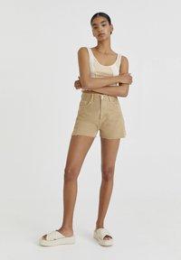 PULL&BEAR - Denim shorts - mottled beige - 1