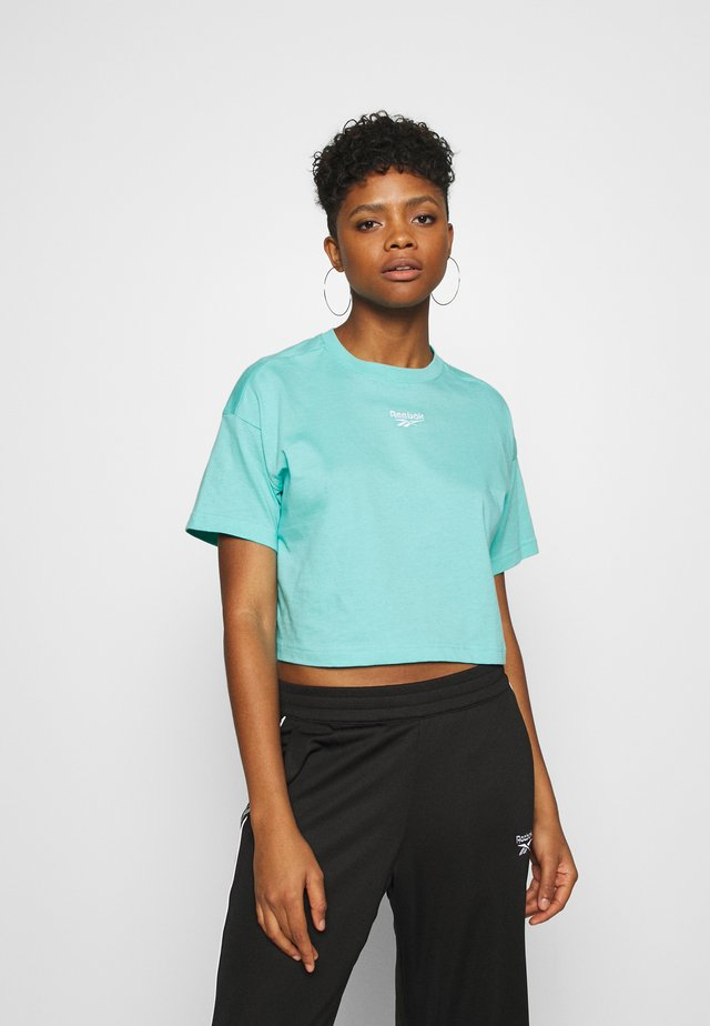 CROPPED TEE - T-shirt med print - turquoise
