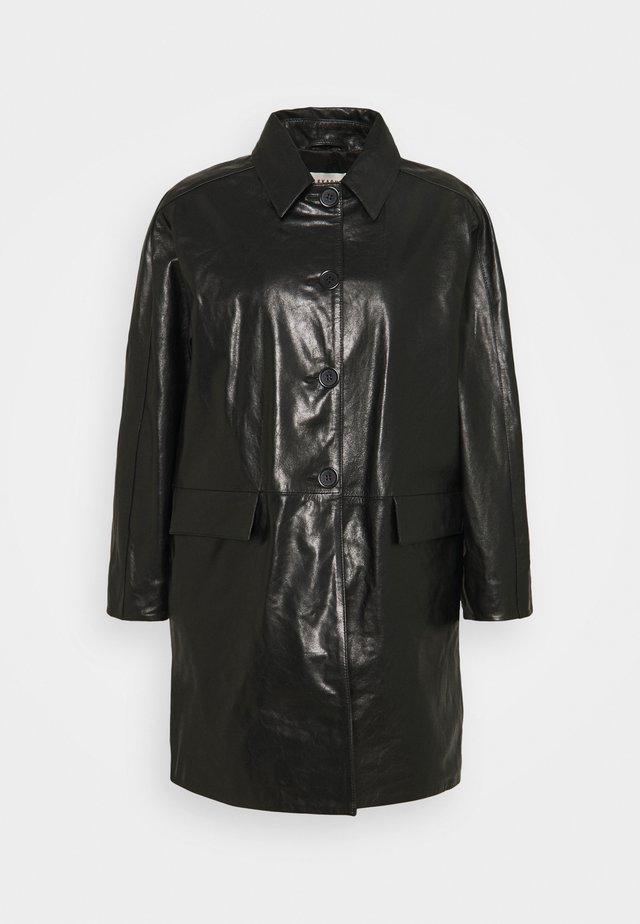 OVERCOAT - Leather jacket - black