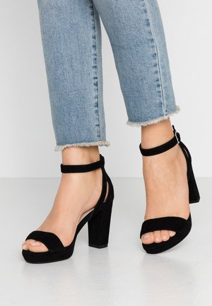 LEATHER HEELED SANDALS - High Heel Sandalette - black