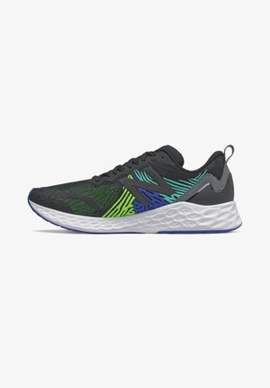 FRESH FOAM TEMPO - Neutral running shoes - black/energy lime/cobalt blue