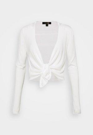 COCOON TIE FRONT - Mikina na zip - white
