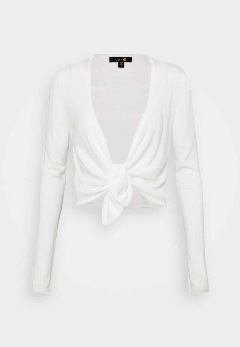 L'urv - COCOON TIE FRONT - Mikina na zip - white