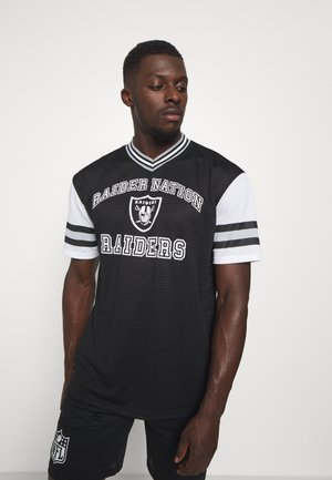 NFL OAKLAND RAIDERSSTRIPE SLEEVE OVERSIZED TEE - Club wear - black