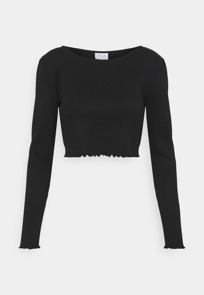 Vila - VIBALU CROPPED - Long sleeved top - black