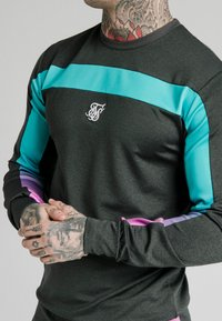 SIKSILK - TRI FADE PANEL CREW - Long sleeved top - dark grey - 4