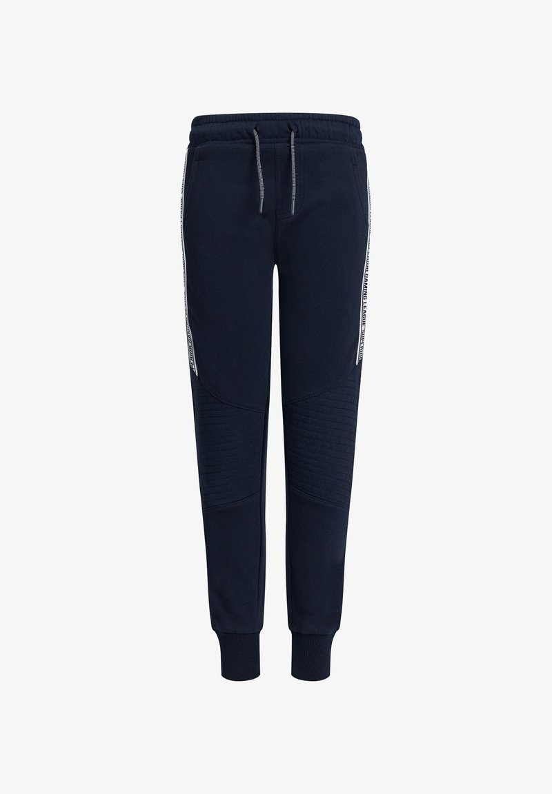 WE Fashion - MET TAPE- EN BIKERDETAILS - Tracksuit bottoms - dark blue