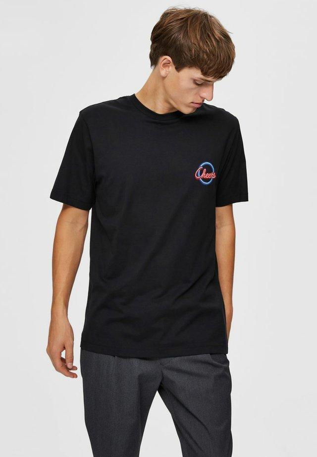 RELAXED FIT - T-shirt imprimé - caviar