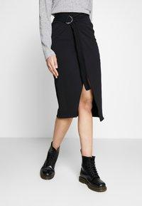 Noisy May Tall - WRAP SKIRT TALL - Pencil skirt - black - 1