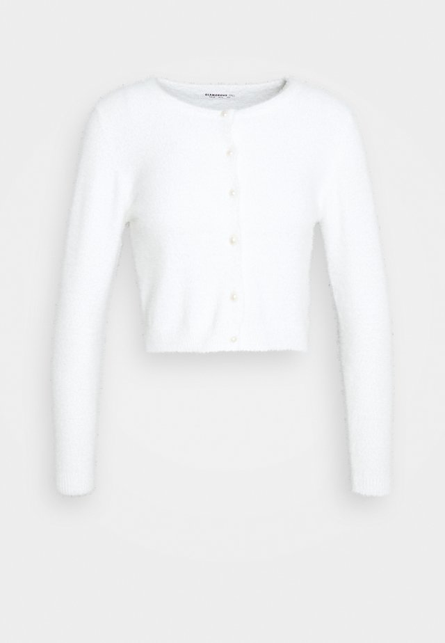 CROPPED CARDIGAN WITH HIGH ROUND NECKLINE AND LONG SLEEVES - Pullover - white