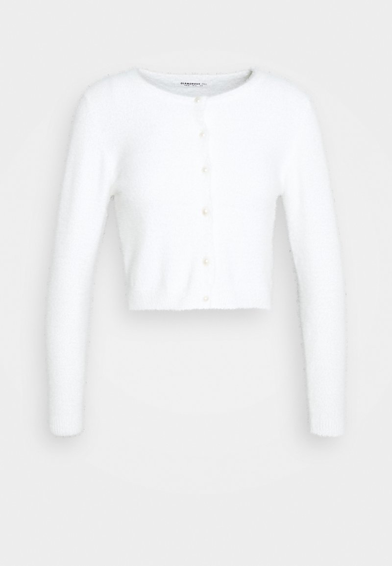 Glamorous Tall - CROPPED CARDIGAN WITH HIGH ROUND NECKLINE AND LONG SLEEVES - Jumper - white