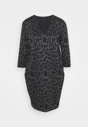 PEBBLE DRESS - Jersey dress - grey/black